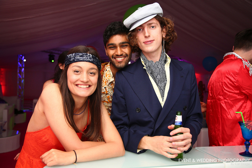 Guests at a 1960s-themed birthday party near Towcester.