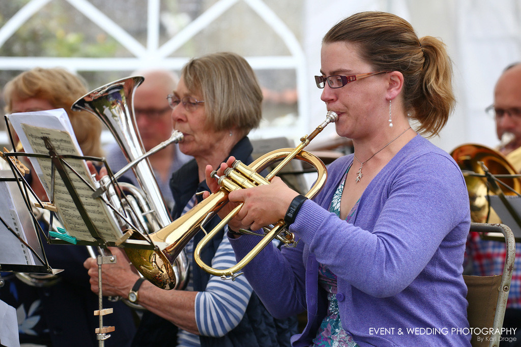 A brass band playing at a golden wedding anniversary party near Oundle.