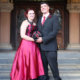 An unusual red wedding dress for this Halloween Bride and Groom.