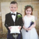 Scottish-themed Pageboy and Bridesmaid.