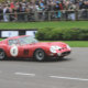 A Ferrari races around the track at the Goodwood Revival.