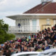 A healthy crowd at Towcester Racecourse.