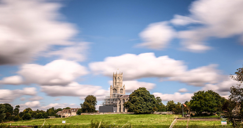Cloud blur photograph of work at Fotheringhay Church
